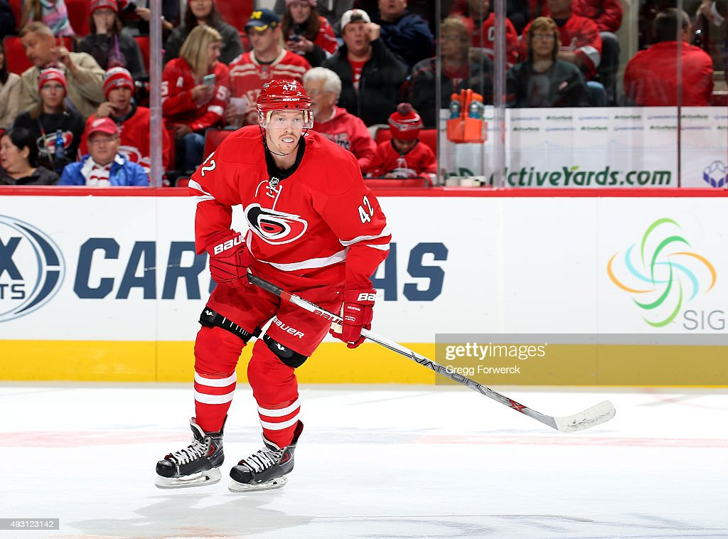 Joakim Nordstrom #42 of the Carolina Hurricanes skates for position during a NHL game against the Detroit Red Wings at PNC Arena on October 10, 2015 in Raleigh, North Carolina.