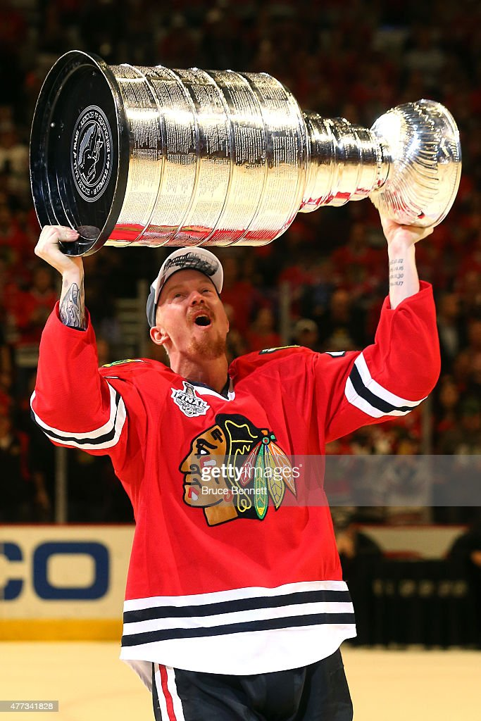 Joakim Nordstrom #42 of the Chicago Blackhawks celebrates with the Stanley Cup after defeating the Tampa Bay Lightning by a score of 2-0 in Game Six to win the 2015 NHL Stanley Cup Final at the United Center on June 15, 2015 in Chicago, Illinois.