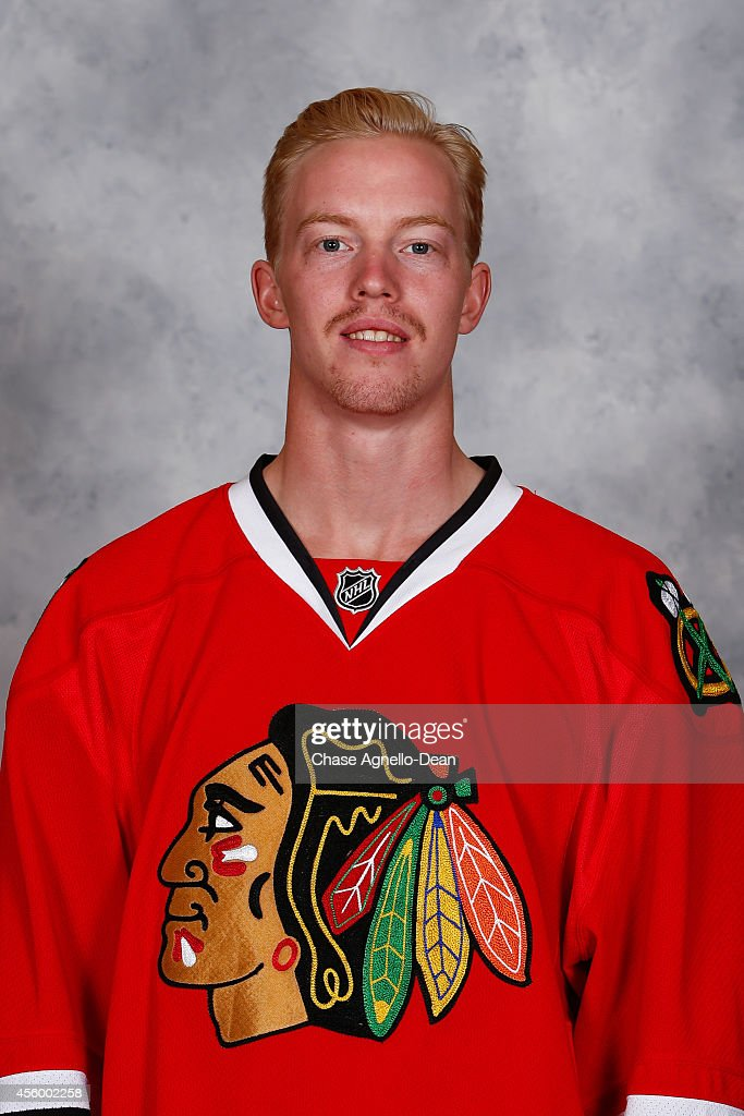 Joakim Nordstrom #42 of the Chicago Blackhawks poses for his official headshot for the 2014-2015 season on September 18, 2014 at the United Center in Chicago, Illinois.