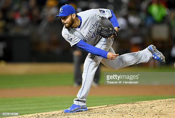 Joakim Soria of the Kansas City Royals pitches against the Oakland Athletics in the bottom of the eighth inning at Oco Coliseum on April 15 2016 in...