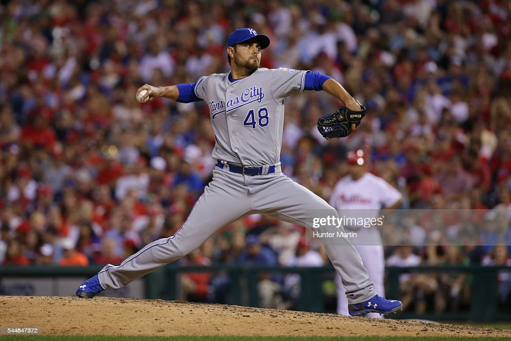 Joakim Soria #48 of the Kansas City Royals throws a pitch in the ninth inning during a game against the Philadelphia Phillies at Citizens Bank Park on July 2, 2016 in Philadelphia, Pennsylvania. The Royals won 6-2.