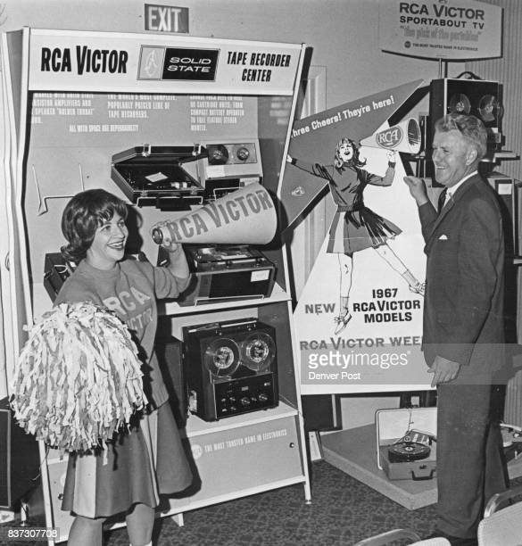 Joan Adcock and Wayne Kuykendall of Ward Terry 7 Co 70 Rio Grande Blvd a distributor for RCA Victor products are shown with RCA's new solid state...
