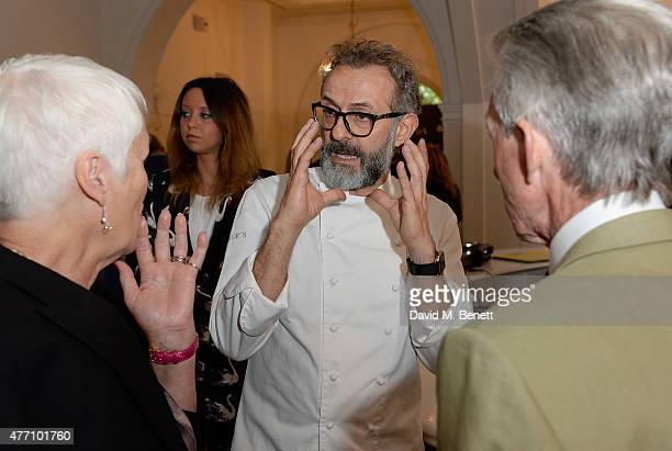 Joan and Edward Sexton with Massimo Bottura attending the brunch for REDA in collaboration with The Woolmark Company and Magnum celebrating 150 years...