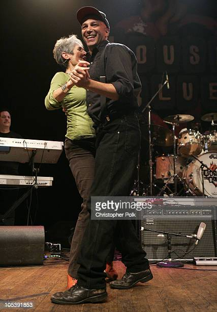 Joan Baez and Tom Morello during Words and Music in Honor of 'Fahrenheit 9/11' at House of Blues in Hollywood California United States