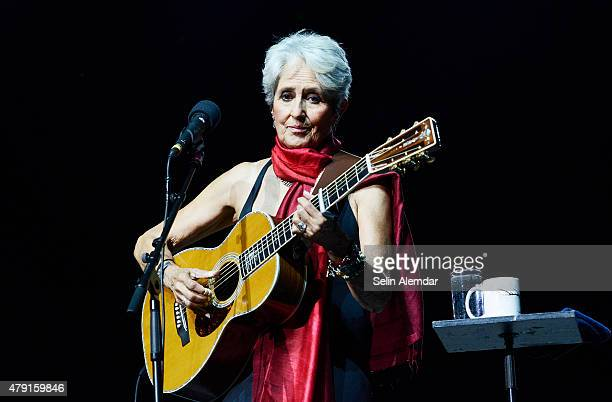 Joan Baez performs on stage at the Istanbul Jazz Festival at Cemil Topuzlu Open Air Theatre on July 1 2015 in Istanbul Turkey