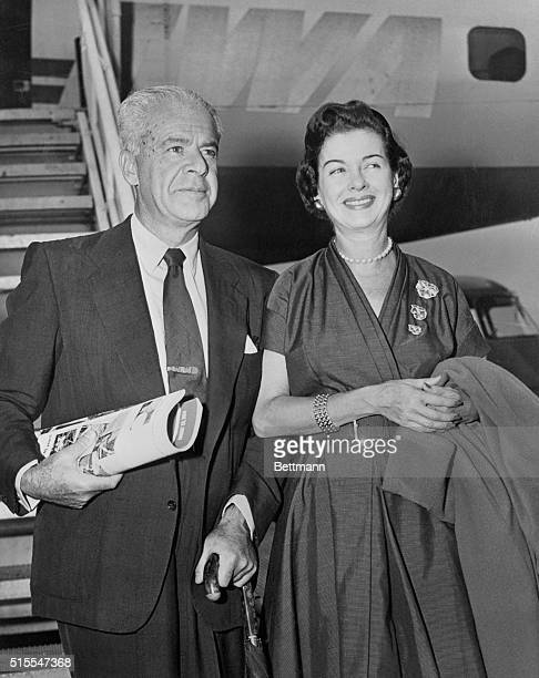 Joan Bennet and husband Walter Wanger arrive via TWA non stop from Los Angeles en route to the Edinburgh Film Festival