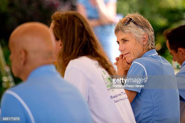 Joan Benoit Samuelson at right former female winner of the Boston Marathon and founder of the TD Beach to Beacon 10k road race listens as Anna Marie...