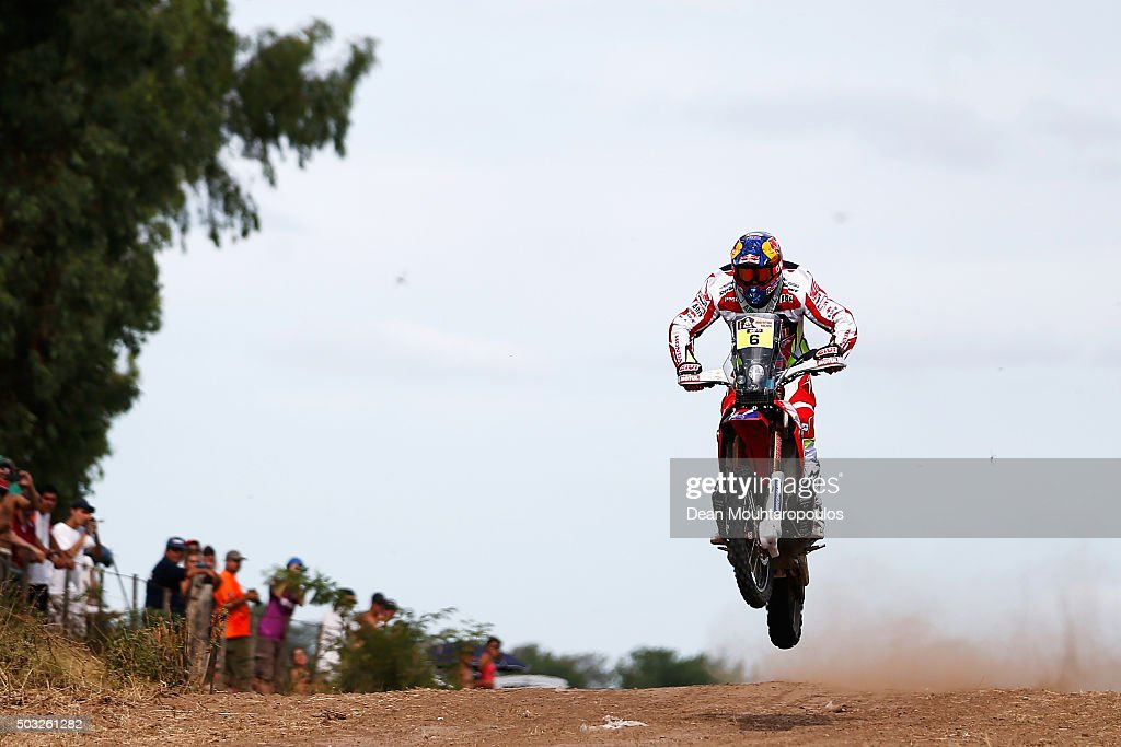 Joan Bort Barreda of Spain riding on and for HONDA CRF450RALLY TEAM HRC competes in the Dakar Rally Prologue on January 2, 2016 outside Buenos Aires near Ariecifes, Argentina.