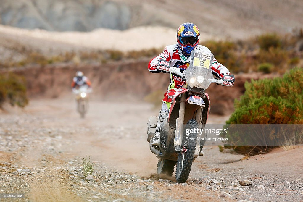 Joan Bort Barreda of Spain riding on and for HONDA CRF450RALLY TEAM HRC competes on day 4 and the San Salvador de Jujuy stage four of the 2016 Dakar Rally on January 6, 2016 close to Purmamarca, Argentina.
