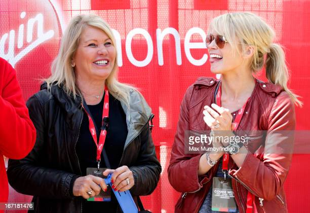 Joan Branson talks with her daughterinlaw Isabella Calthorpe at the finish line of the Virgin London Marathon 2013 on April 21 2013 in London England