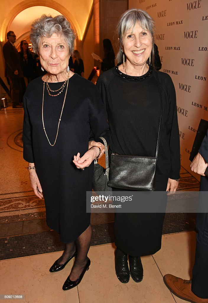 Joan Burstein (L) and Caroline Burstein attend a private view of 'Vogue 100: A Century of Style' hosted by Alexandra Shulman and Leon Max at the National Portrait Gallery on February 9, 2016 in London, England.