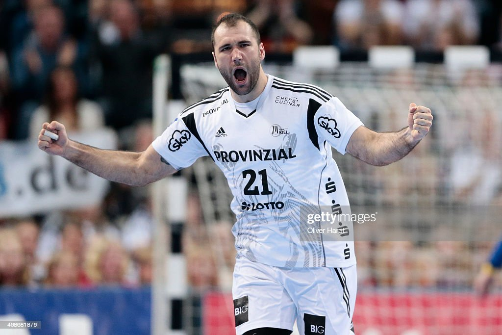 Joan Canellas of Kiel reacts during the DKB HBL Bundesliga match between THW Kiel and Rhein Neckar Loewen at Sparkassen Arena on April 5, 2015 in Kiel, Germany.