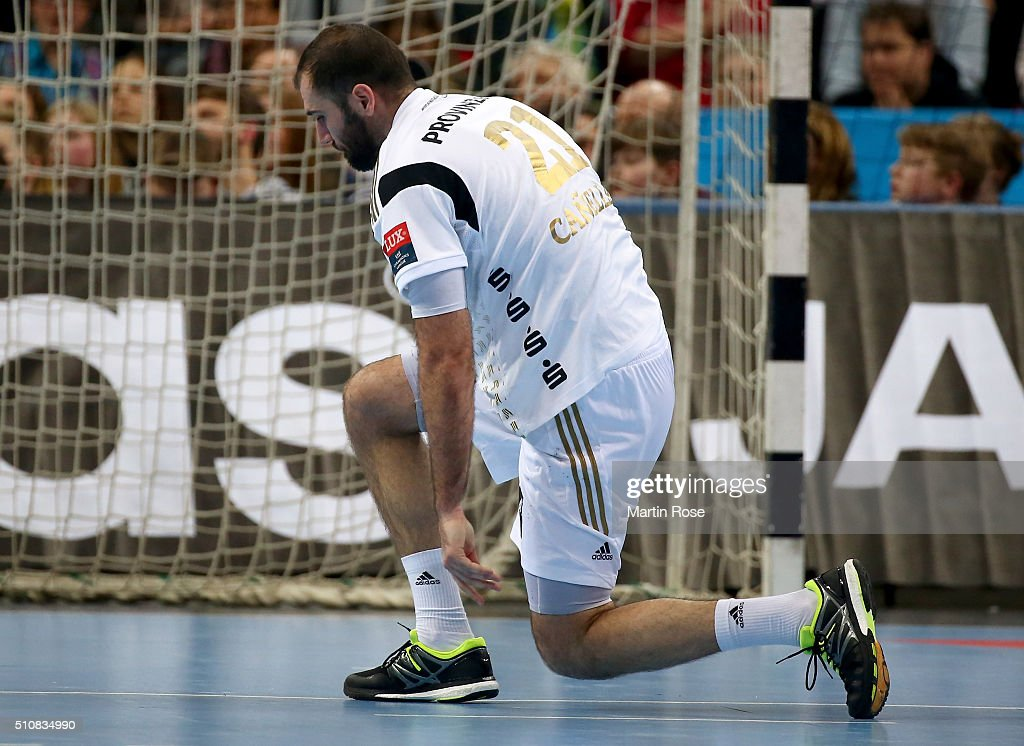 Joan Canellas of Kiel reacts during the VELUX EHF Champions League group A between THW Kiel and Orlen Wisla Plock at Sparkassen Arena on February 17, 2016 in Kiel, Germany.