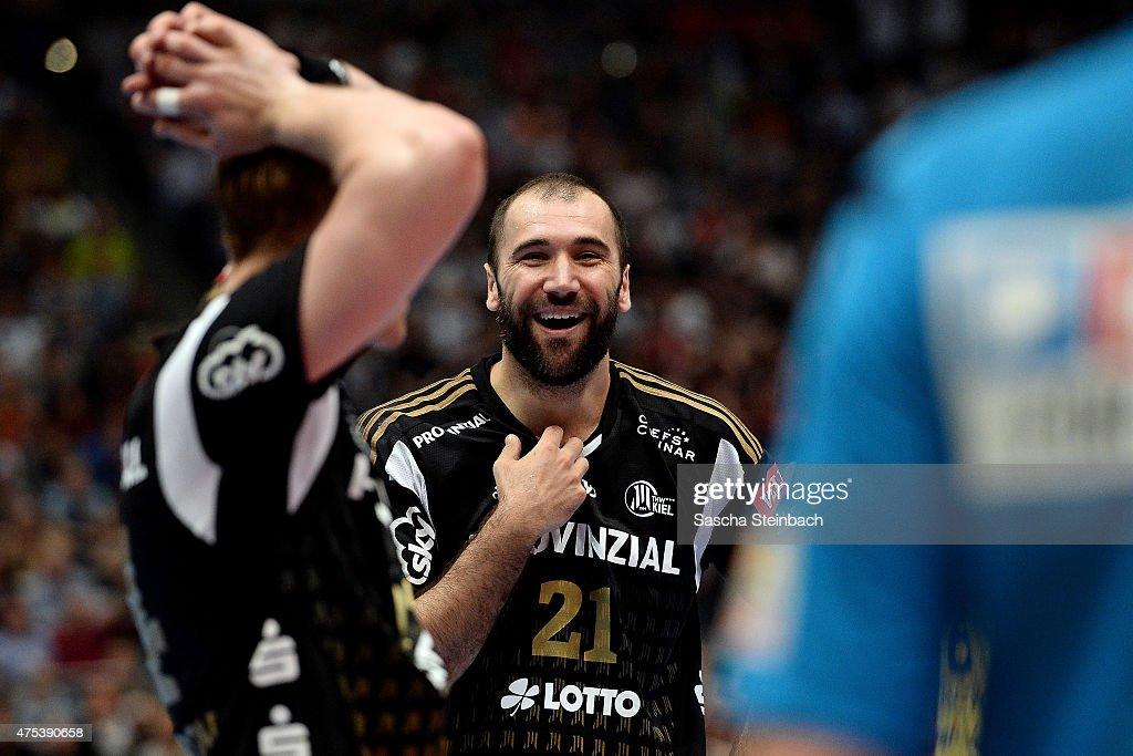Joan Canellas of Kiel reacts during the 'VELUX EHF FINAL4' semi final match between THW Kiel and KS Vive Tauron Kielce at Lanxess Arena on May 31, 2015 in Cologne, Germany.
