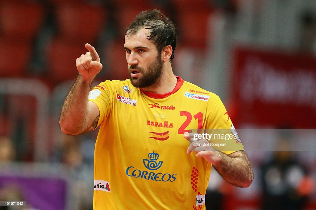 Joan Canellas of Spain celebrates a goal during the IHF Men's Handball World Championship group A match between Brazil and Spain at Duhail Handball Sports Hall on January 17, 2015 in Doha, Qatar.
