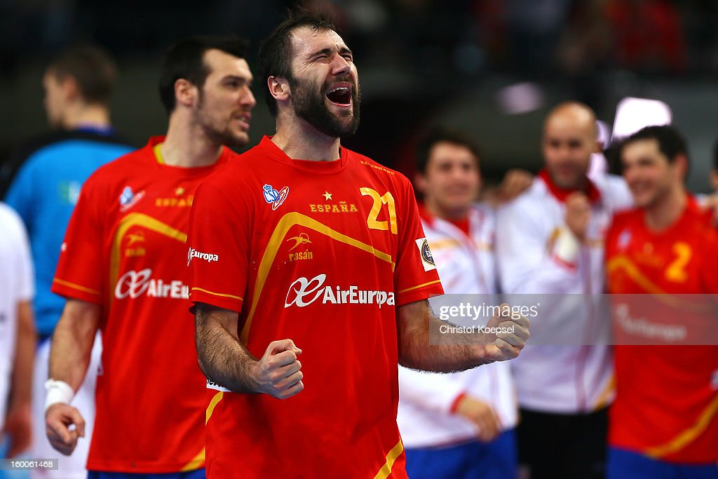 Joan Canellas of Spain celebrates the 26-22 victory after the Men's Handball World Championship 2013 semi final match between Spain and Slovenia at Palau Sant Jordi on January 25, 2013 in Barcelona, Spain.