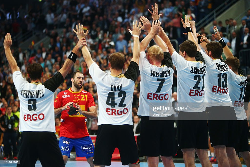 Joan Canellas Reixach of Spain prepares for a last-second free-throw during the European Handball Championship 2016 Qualifier match between Germany and Spain at SAP Arena on April 29, 2015 in Mannheim, Germany.