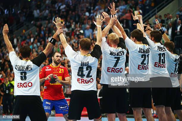 Joan Canellas Reixach of Spain prepares for a lastsecond freethrow during the European Handball Championship 2016 Qualifier match between Germany and...