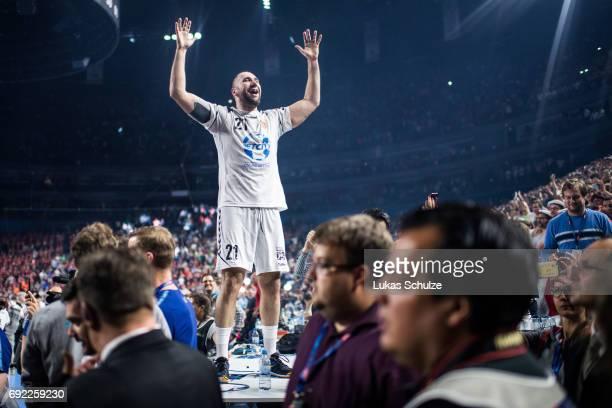 Joan Canellas Reixach reacts after winning the VELUX EHF FINAL4 Final match between Paris SaintGermain Handball and HC Vardar at Lanxess Arena on...