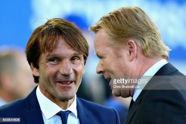Joan Carrillo Manager of Hajduk Split talks with Ronald Koeman Manager of Everton before the UEFA Europa League Qualifying PlayOffs round first leg...