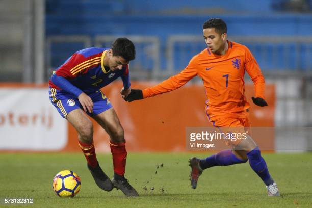 Joan Cervos of Jong Andorra Justin Kluivert of Jong Oranje during the EURO U21 2017 qualifying match between Netherlands U21 and Andorra U21 at the...