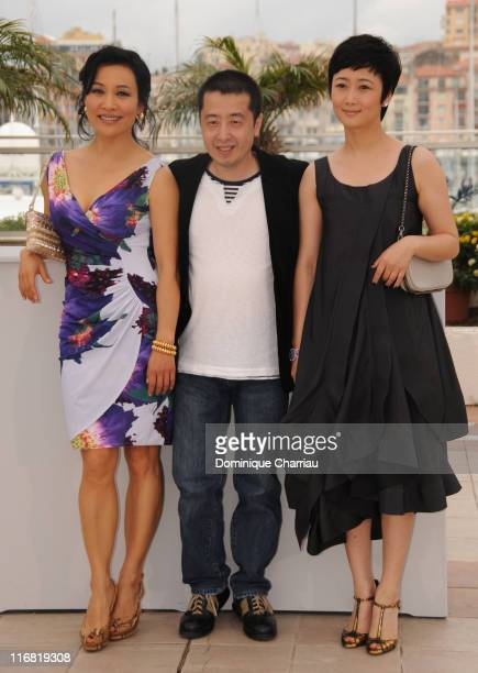Joan Chen Director Zhang Ke Jia and Tao Zhao attend the 24 City photocall at the Palais des Festivals during the 61st Cannes International Film...