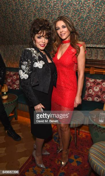 Joan Collins and Elizabeth Hurley attend the World Premiere after party for 'The Time Of Their Lives' at 5 Hertford Street on March 8 2017 in London...