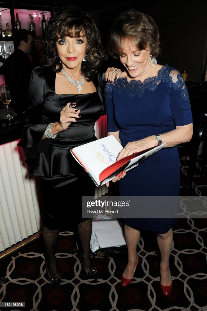 Joan Collins (L) and Esther Rantzen attend the launch of Joan Collins new book 'Passion For Life' at No.41 Mayfair Club at The Westbury Hotel on October 21, 2013 in London, England.