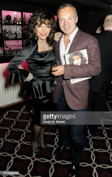 Joan Collins and Graham Norton attend the launch of Joan Collins new book 'Passion For Life' at No41 Mayfair Club at The Westbury Hotel on October 21...