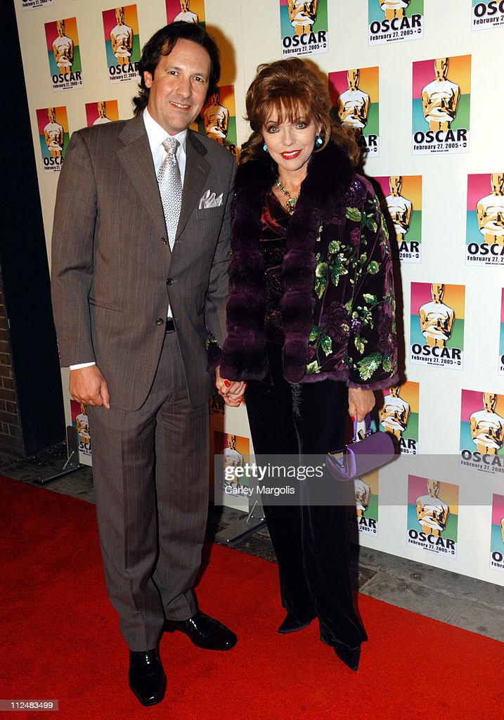 Joan Collins (right) and guest during Official 2005 Academy of Motion Picture Arts & Sciences Oscar Night Party at Gabriel's at Gabriel's Restaurant and Bar in New York City, New York, United States.