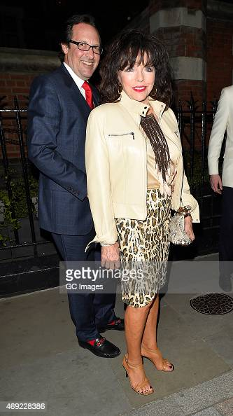 Joan Collins and her husband Percy Gibson leave The Chiltern Firehouse on April 10 2015 in London England