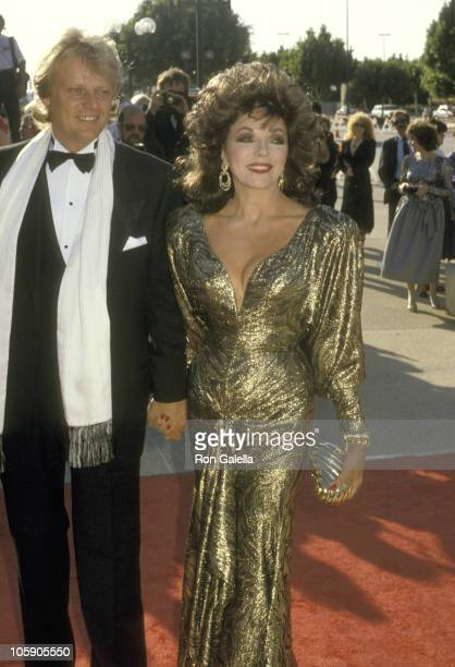Joan Collins and Husband Peter Holm during 38th Annual Primetime Emmy Awards at Pasadena Civic Auditorium in Pasadena California United States