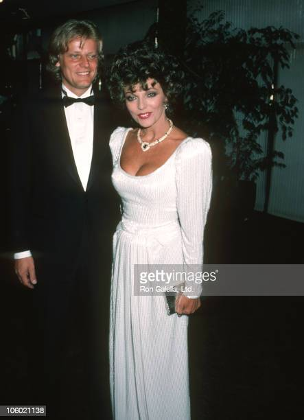 Joan Collins and Husband Peter Holm during 'Comfort and Joy' Premiere Party at Chasen's in Beverly Hills California United States