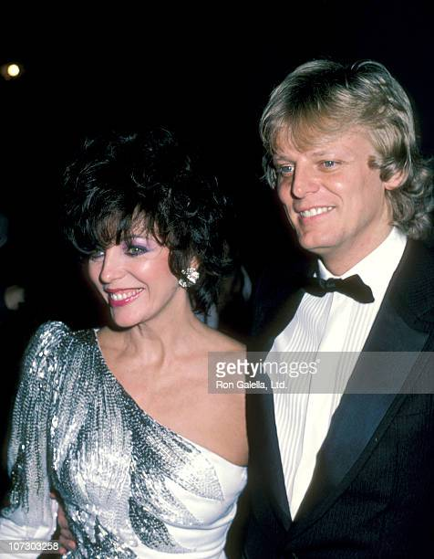 Joan Collins and Husband Peter Holm during Joan Collins at The Bistro in Beverly Hills November 5 1983 at The Bistro in Bevelry Hills California...