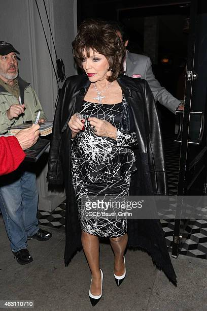 Joan Collins and Percy Gibson are seen at Craig's restaurant in Beverly Hills on February 09 2015 in Los Angeles California