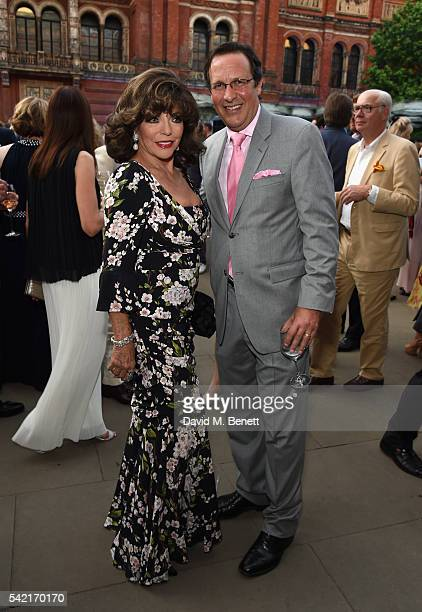 Joan Collins and Percy Gibson attend the 2016 VA Summer Party In Partnership with Harrods at The VA on June 22 2016 in London England