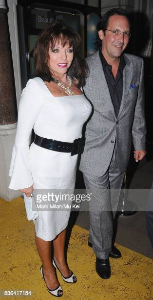 Joan Collins and Percy Gibson attending the 'Beautiful Inside My Head' party at Sotheby's auction house in Bond Street on September 12 2008 in London...