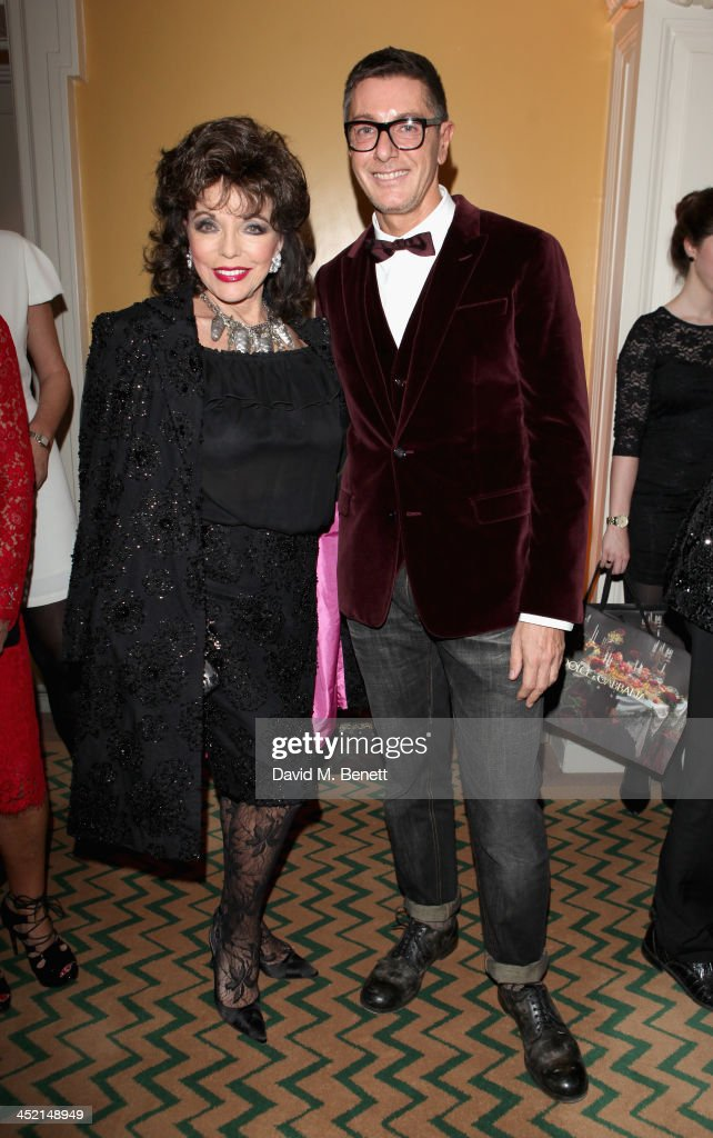 <a gi-track='captionPersonalityLinkClicked' href=/galleries/search?phrase=Joan+Collins&family=editorial&specificpeople=109065 ng-click='$event.stopPropagation()'>Joan Collins</a> and <a gi-track='captionPersonalityLinkClicked' href=/galleries/search?phrase=Stefano+Gabbana+-+Fashion+Designer&family=editorial&specificpeople=4820355 ng-click='$event.stopPropagation()'>Stefano Gabbana</a> attend Claridge's Christmas Tree By Dolce & Gabbana launch party at Claridge's Hotel on November 26, 2013 in London, England.
