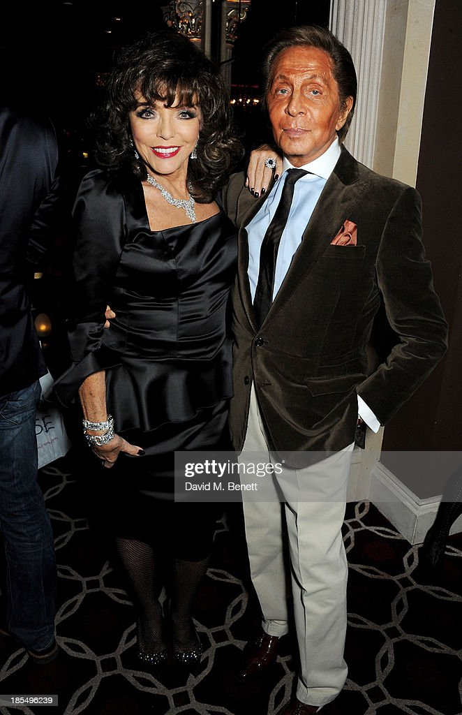 Joan Collins (L) and Valentino Garavani attend the launch of Joan Collins new book 'Passion For Life' at No.41 Mayfair Club at The Westbury Hotel on October 21, 2013 in London, England.