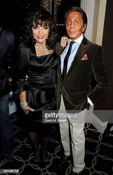 Joan Collins and Valentino Garavani attend the launch of Joan Collins new book 'Passion For Life' at No41 Mayfair Club at The Westbury Hotel on...