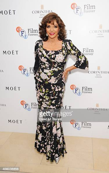Joan Collins arrives at the Al Pacino BFI Fellowship Dinner supported by Moet Chandon at the Corinthia Hotel London on September 24 2014 in London...