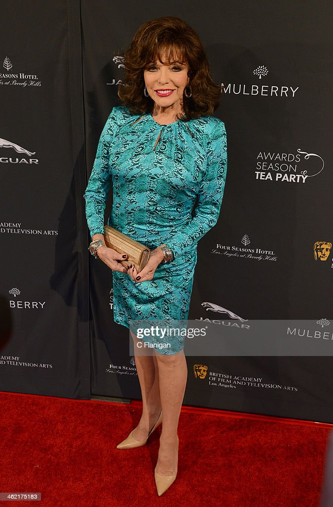 Joan Collins arrives at the BAFTA LA 2014 Awards Season Tea Party at Four Seasons Hotel Los Angeles at Beverly Hills on January 11, 2014 in Beverly Hills, California.
