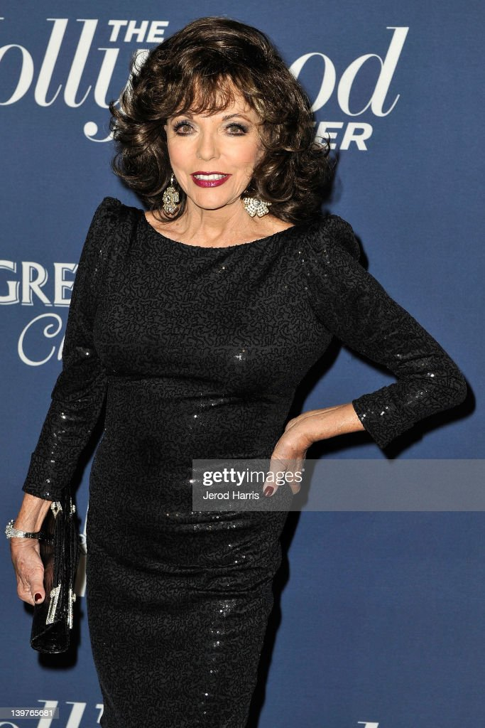 Joan Collins arrives at The Hollywood Reporter celebrates the 84th annual Academy Awards nominees at the Getty House on February 23 2012 in Los...
