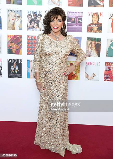 Joan Collins arrives for the Gala to celebrate the Vogue 100 Festival Kensington Gardens on May 23 2016 in London England