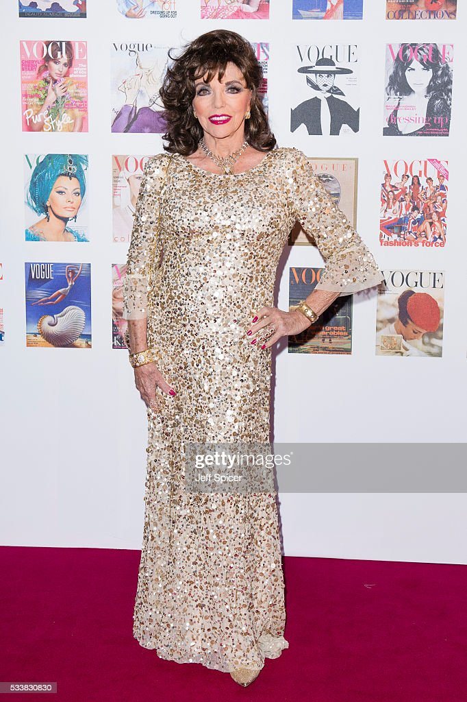 Joan Collins arrives for the Gala to celebrate the Vogue 100 Festival at Kensington Gardens on May 23, 2016 in London, England.