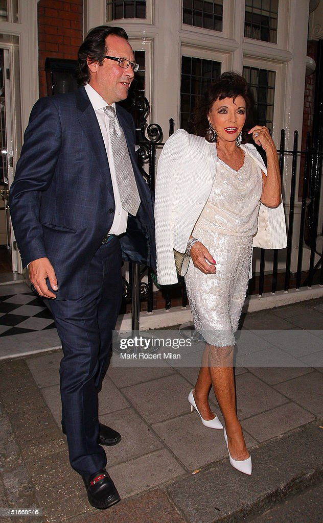 Joan Collins at Mark's club to celebrate Tracey Emin's 51st birthday on July 3, 2014 in London, England.