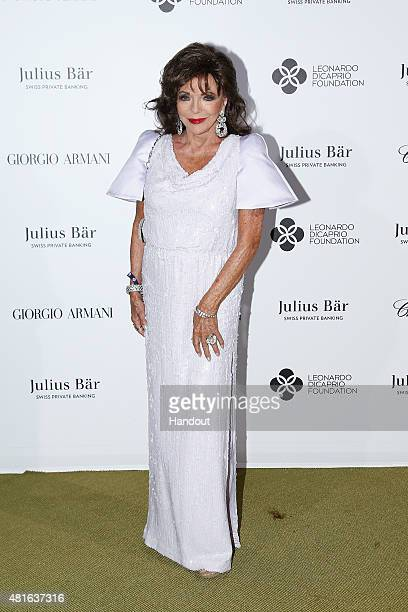 Joan Collins attends a cocktail reception during The Leonardo DiCaprio Foundation 2nd Annual SaintTropez Gala at Domaine Bertaud Belieu on July 22...