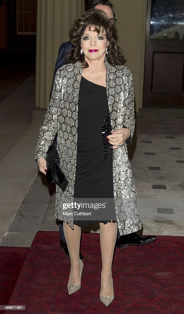 Joan Collins attends a Dramatic Arts Reception at Buckingham Palace on February 17, 2014 in London, England.