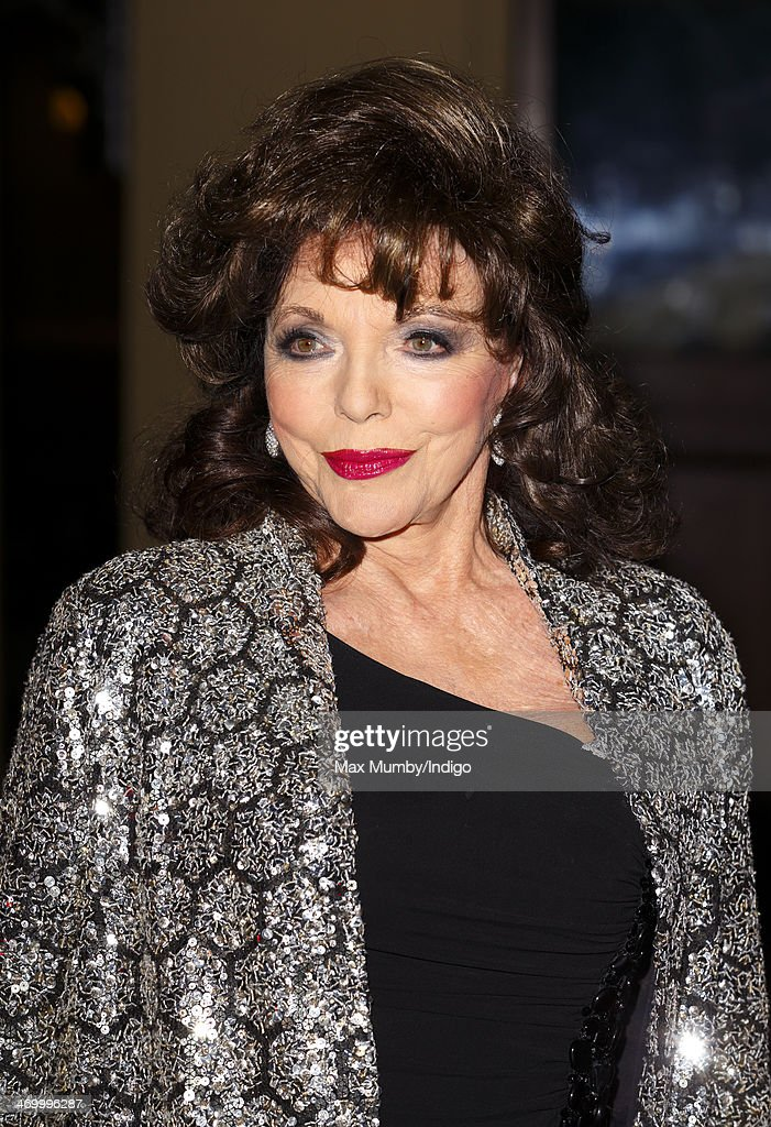 Joan Collins attends a Dramatic Arts reception hosted by Queen Elizabeth II at Buckingham Palace on February 17, 2014 in London, England.