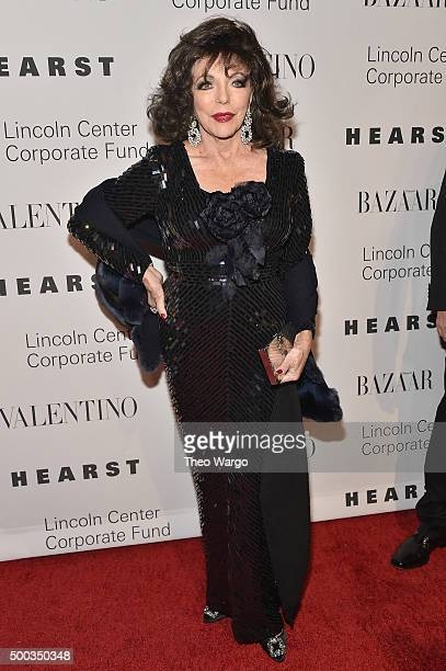 Joan Collins attends 'An Evening Honoring Valentino' Lincoln Center Corporate Fund Gala at Alice Tully Hall at Lincoln Center on December 7 2015 in...